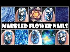 MARBLED FLOWER NAILS   ROMANTIC BLUE NAIL ART DESIGN TUTORIAL VALENTINE'S DAY EASY BEGINNER DIY - YouTube