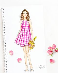 29 Ideas flowers girl drawing illustration for 2019 Dress Design Drawing, Dress Design Sketches, Fashion Design Sketchbook, Fashion Design Drawings, Dress Drawing, Fashion Sketches, Drawing Sketches, Dress Illustration, Fashion Illustration Dresses