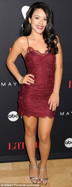 Lovely in lace: Cierra Ramirez from The Fosters chose a demure look in a short, form-fitti...