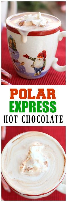 Express Hot Chocolate This Polar Express Hot Chocolate is just what you need to cuddle up to on the couch with your family.This Polar Express Hot Chocolate is just what you need to cuddle up to on the couch with your family. Christmas Drinks, Holiday Drinks, Christmas Desserts, Christmas Treats, Christmas Baking, Holiday Recipes, Family Christmas, Christmas Recipes, Xmas