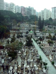 """Random old cemetery in the middle of Hong Kong. Pretty rare as most people are cremated and kept in mausoleums."""