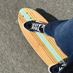 Cruising my smaller board in my Vans SK8 Slim Hi-tops❤️