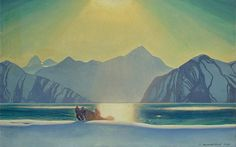 Rockwell Kent Sunglare: Alaska, oil on canvas pasted on plywood, 72 x 112 cm Rockwell Kent, Norman Rockwell, American Realism, American Artists, Art Challenge, Art And Illustration, Illustrations, Landscape Art, Landscape Paintings