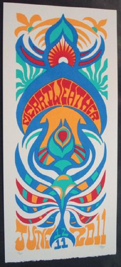 Original silkscreen concert poster for Phish on June 11th and 12th at The Merriweather Post Pavilion in Columbia, MD in 2011. It is printed on Watercolor Paper with Acrylic Inks and measures around 10 x 22 inches.  Print is signed and numbered out of 220 by the artist Tripp.