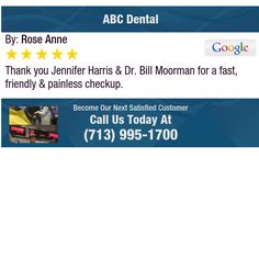 Thank you Jennifer Harris & Dr. Bill Moorman for a fast, friendly & painless checkup.