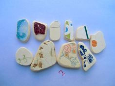 10 mix color sea pottery for jewellery, sea glass pottery, sea glass beads, Unique pieces of the Mediterranean sea