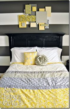 DIY headboard from old shutters/bi-fold closet doors, extra wood and crown molding. LOVE THIS!!!!