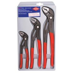 Knipex Cobra Pliers Set & This popular pliers set is a great starter set for all of your push-button cobra water pump pliers. The set includes all the most popular size pliers including a and Tool Organization, Tool Storage, Storage Spaces, Diy Tools, Hand Tools, Essential Woodworking Tools, Woodworking Beginner, Woodworking Hacks, Woodworking Store