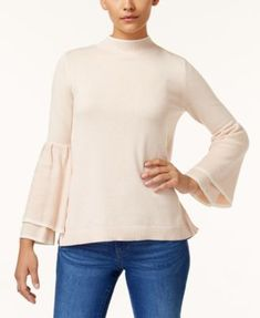 Style & Co Petite Ruffled Bell-Sleeve Sweater, Created for Macy's