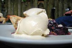 Blueberry pie & honey ice cream with smoked sea salt
