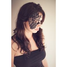 Strapless Face Lace Masks ($25) ❤ liked on Polyvore featuring costumes, lady costumes, ladies costumes, womens halloween costumes, lady halloween costumes and mardi gras masquerade costumes