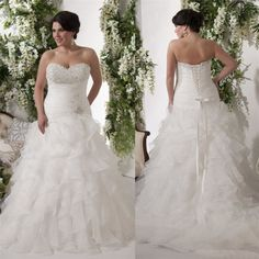 White/Ivory Ruffles Wedding Dress Bridal Gown Plus Size Custom 18 20 22 24 26 28