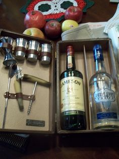 Had to show the inside of my upcycled travel bar - had to fill it with fine Irish Jameson and Deep Eddy, a Texas made vodka