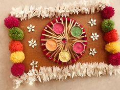 Diwali Decoration Items, Thali Decoration Ideas, Stage Decorations, Festival Decorations, Handmade Decorations, Diwali Gift Box, Diwali Craft, Diwali Gifts, Wedding Gift Hampers
