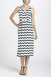 A fun take on the #chevron trend! Waves Midi Dress from Anthropologie