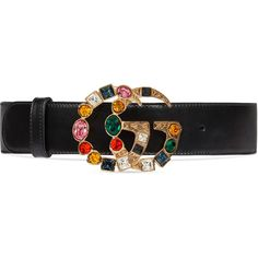 Gucci Leather Belt With Crystal Double G Buckle ($650) ❤ liked on Polyvore featuring accessories, belts, black, women, crystal waist belt, waist belts, gucci, buckle belt and leather buckle belt