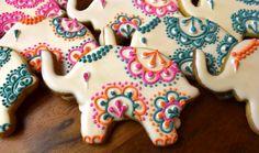 Elephant Mehndi Henna Sugar Cookies Etsy.com/shop/Sweet17Cookies