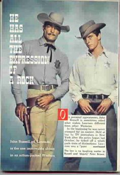 TV Guide article on Lawman John Russell Actor, Actor John, 60s Tv Shows, Movies And Tv Shows, Peter Brown Actor, Pale Rider, Emergency Preparedness Kit, Hot Cowboys, Tv Westerns
