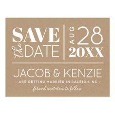Modern Rustic Typography Save the Date Postcard  $1.00  by rileyandzoe  - custom gift idea