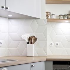 LOSANGES - Indoor tile / wall / floor / ceramic by Normandy Ceramics - Carrelage Design - relief Kitchen Cabinets Decor, Kitchen Wall Tiles, Kitchen Dinning, Rhombus Tile, Wc Design, Cool Kitchens, Living Room Decor, Kitchen Design, The Blanc