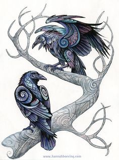 Odin's ravens. Mixed media (ink, watercolor, colored pencil on paper) , 24x32 cm