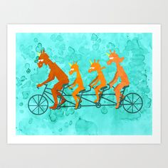 Father's Day Ride  Art Print by That's So Unicorny - $14.99