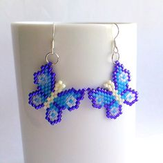 Blue butterfly earrings Wings earrings Beaded earrings от Galiga