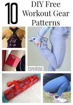 10 DIY Free Fitness Gear Patterns including a DIY yoga mat carrier, free pattern for headbands, yoga pants pattern, and how to make a workout tank top.