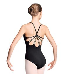 Mirella Adult Rouleaux Loop Twist Back Camisole Leotard