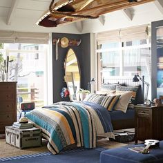 Create the perfect space for everything you do with teen furniture from Pottery Barn Teen. Find beds, dressers, desks and more and give the room a boost of style. Teenage Room Decor, Surf Decor, Home Bedroom, Bedroom Wall, Bedroom Decor, Teen Bedroom, Teen Boy Bedding, Mens Room Decor, Home Decor