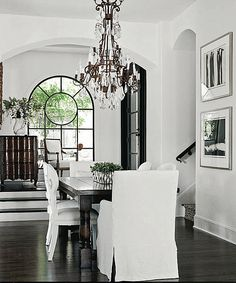 Dining Room. Dining Room. White, Black, Rustic, Shabby Chic, Swedish decor Idea. ***Repinned from Donna B ***.