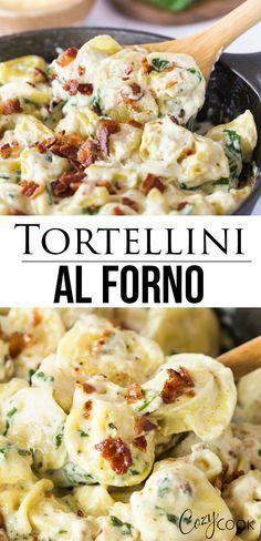 Tortellini Al Forno Recipe, Cheese Tortellini Recipes, Easy Pasta Recipes, Tortellini Pasta, Dinner Recipes, Easy Meals, Cooking Recipes, Healthy Recipes, Tortellini With Alfredo Sauce Recipe