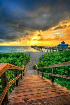 Juno Beach Sunrise at the Fishing Pier.... Here you relax with these backyard landscaping ideas and landscape design. #Relax more with this #free #music with #BinauralBeats that can #heal you: #landscaping #LandscapingIdeas #landscapeDesign