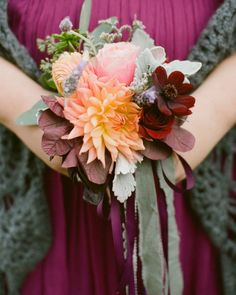Each bridesmaid carried a petite bouquet similar to Jayme's (with a mix of blooms like dahlias, ranunculus, roses, and lavender), and…