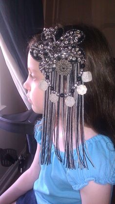 Love the coins over the fringe   Silver Bellydance Belt and Headband Costume Dance Tribal Fusion. $225.00, via Etsy.