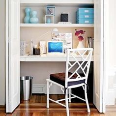 Closet desk space