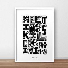 Meetings Kill | Timothy Goodman Timothy Goodman, Meet, Calligraphy, Prints, Lettering, Calligraphy Art, Hand Drawn Typography, Letter Writing