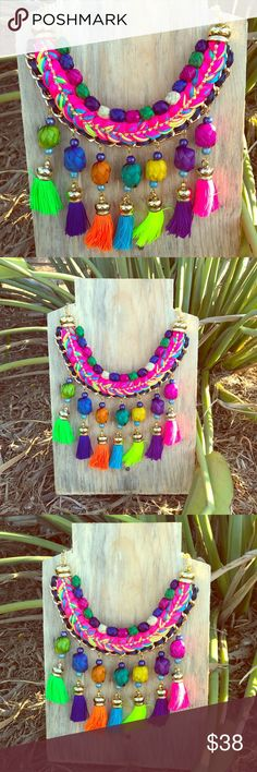 Mexican Statement Necklace Tassels and Palm Leafs Stunning unique One-of-a-Kind statement necklace! Hot pink braided threads with fun tassels with hand-dyed palm leaf spheres accents, 100% handmade. Great for summer outfits. Adjustable lenght. Made with quality materials. Especially designed for Cielito Lindo Mexican Boutique Cielito Lindo Jewelry Necklaces