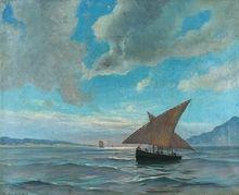 Holmboe, Thorolf (1866-1935) Seilskuter i fjordlandskap 1893 Olje på lerret, Signert og datert nede t.v.: Th. Holmboe 1893.