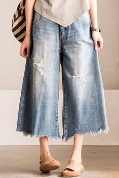 Blue Torn Edges Cowboy Boken Hole Jeans Wide-legged Pants Causel Women Clothes N7186A