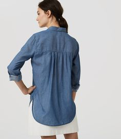 b67604b01a Thumbnail Image of Color Swatch 3895 Image of Shirred Chambray Tunic  Softened Shirt
