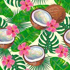 New fruit tropical dessin ideas Motif Tropical, Tropical Pattern, Tropical Vibes, Tropical Fruits, Tropical Flowers, Flower Wallpaper, Pattern Wallpaper, Motifs Textiles, Illustration Botanique