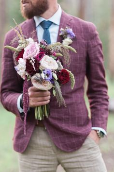Beautiful jewel toned bouquet | Ali & Garrett Wedding Photographers