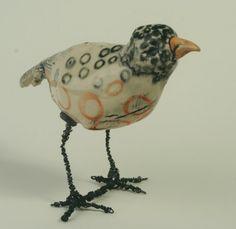 Circles & Dots Bird Sculpture by Hannah Niswonger Ceramics Clay Birds, Ceramic Birds, Ceramic Animals, Ceramic Art, Pet Birds, Clay Animals, Bird Sculpture, Animal Sculptures, Ceramic Figures