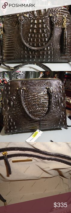 """NEW Brahmin Sydney Ironwood Melbourne Satchel New with tags. Registration card & dustbag are included. No damage  Retail was $375. No offers will be taken.   Featured in Ironwood Melbourne, our top-selling Melbourne leather in a neutral shade so dark and earthy, it borders on black. A slight sheen adds even more depth and dimension, while gold hardware produces a subtle glint. Genuine leather.   Product Dimensions: 10""""H x 13""""W x 5""""D   Please Note: Products are measured at the widest and…"""