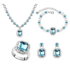 >> Click to Buy << Blue Necklace Earring Bracelet Ring Four Sets Austrian Crystal Brand Luxury Jewelry Set For Women Birthday Gift Jewellery Bijoux #Affiliate