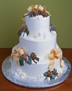 On this one, think bling at bottom of each tier (taking away bead border and those swirled roses), think more defined pinecones and evergreen, and think eggplant colored ribbon - might be an option for your cake.