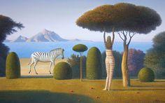 Zebra 2005  35x53 by Evgeni Gordiets - Oil on Canvas