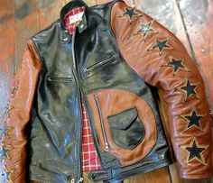"""Bronco Champ """"Star Model""""  Inspired by vintage motorcyclists 1940's to 1960's jackets, when genuine horsehide leather was the best thing available to protect you from spills."""