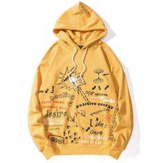 Graffiti Hoodie – T-shirt Way Yellow Hoodie, Black Hoodie, Hoodie Outfit, Flat, Hooded Sweatshirts, Men's Hoodies, Sleeve Styles, Harajuku, Graffiti